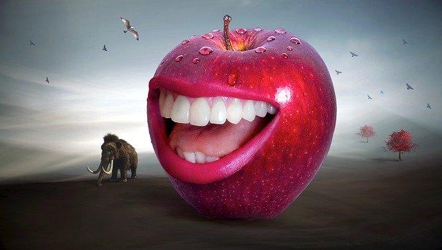 zuby a jablko